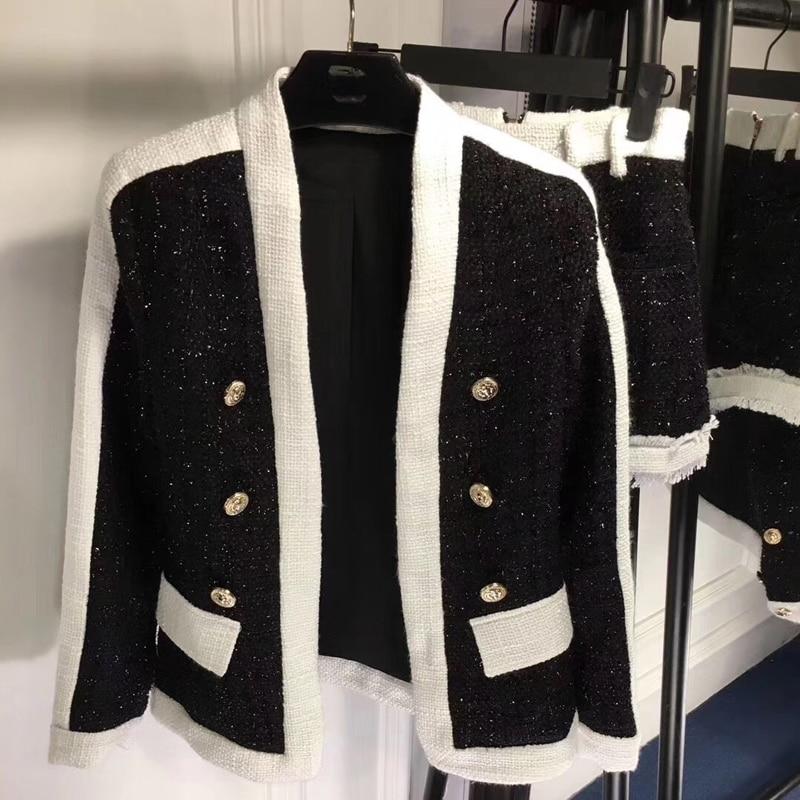 2018 Women Tweed Autumn Winter Casual Set Elegant Black White Office Lady Coat And Shorts Pants Fashion Set