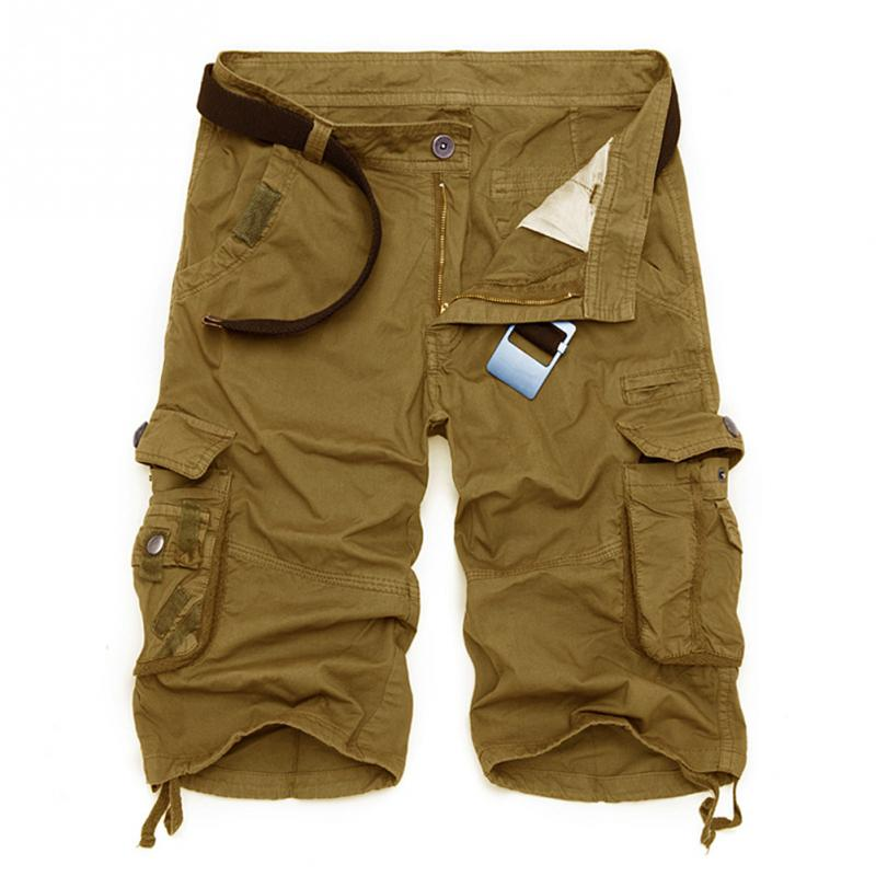 Men Summer Camouflage Cargo Shorts Casual Loose Short Military Style Knee Length Shorts