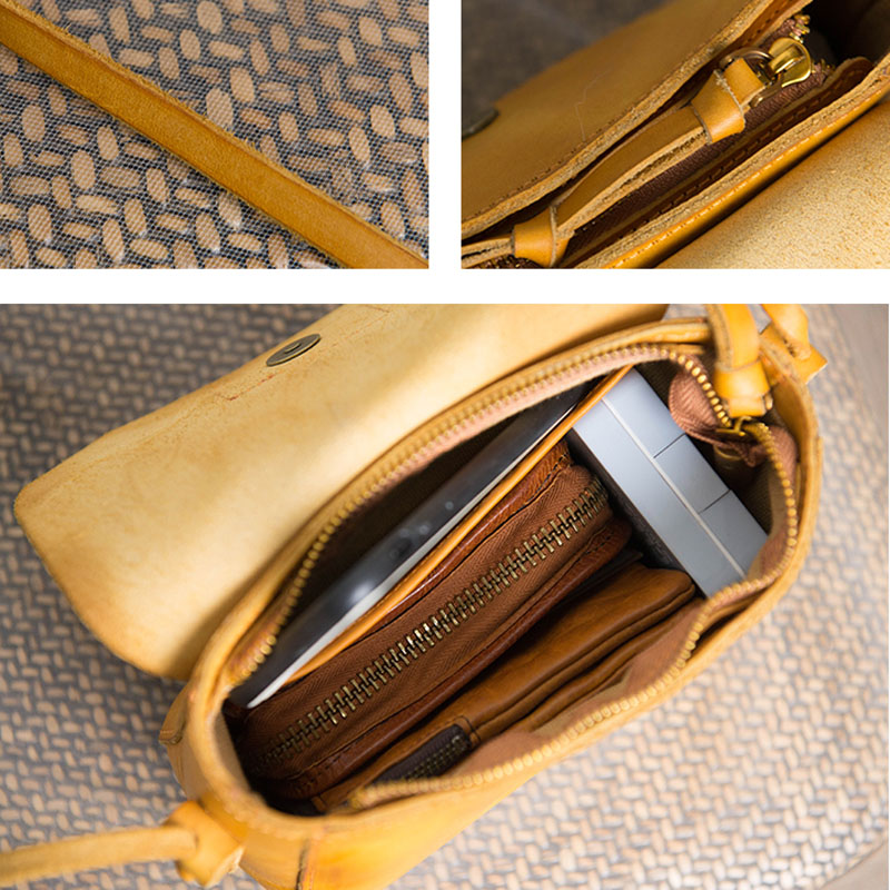 Image 5 - AETOO Original design handbags handmade leather casual Messenger  bag Sen series literary retro leather mini saddle bagTop-Handle Bags