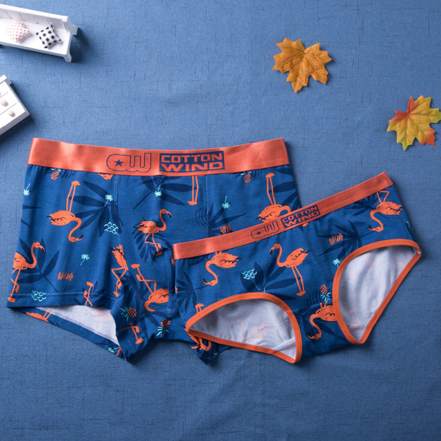b958c9c6f1a03d Lovers Underwear Flamingo Cartoon Sexy Lovers Briefs Couple Underwear Mid  Waist Cotton Men Boxers Underpants Couple Panties-in women's panties from  ...