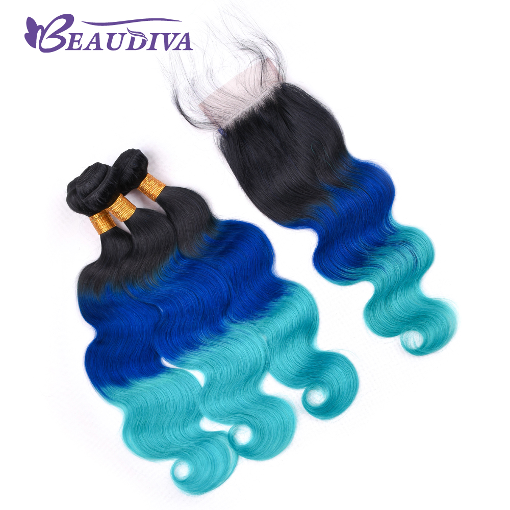 Beaudiva Pre Colored Ombre Brazilian Hair Weave Bundles 3 Pcs With Lace Closure T1B Blue Light Blue Human Hair With Remy Closure