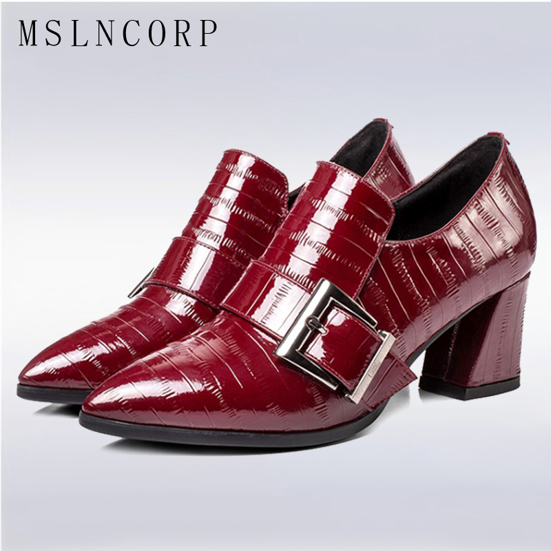 plus size 34-43 New cow patent leather Pointed Toe pumps women Fashion Elegant Buckle Shallow Dress Square High Heel Party shoes цена