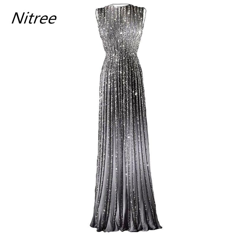 Fancy Long Glitter Prom Dress Banquet Silver Formal Dresses Evening