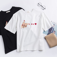 Super Good Quality Cotton T Shirts Women Embroidery Cute Summer Kpop T Shirts Short Sleeve Black