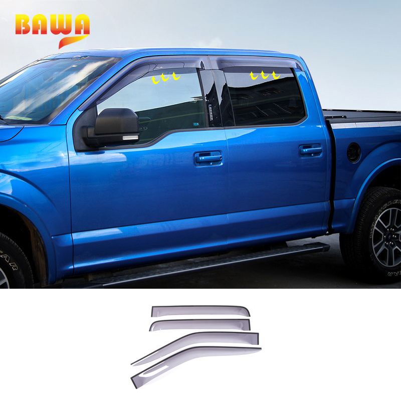 HANGUP ALSET Car Blade Side Window Deflectors Door Sun Visor Shield Decoration Stickers For Ford F150 2015 Up Car Styling цена