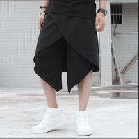 M 5XL HOT New Fashion DJ pants Men's skorts faux two piece pants Culottes Rock black skirt singer costume hairstylist trousers