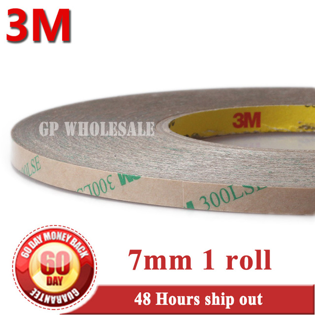 7mm*55M*0.17mm 3M 300LSE PET Super Adhesion 2 Faces Sticky Tape for Nameplate LCD Frame Jointing Low Surface Energy Plastic #923