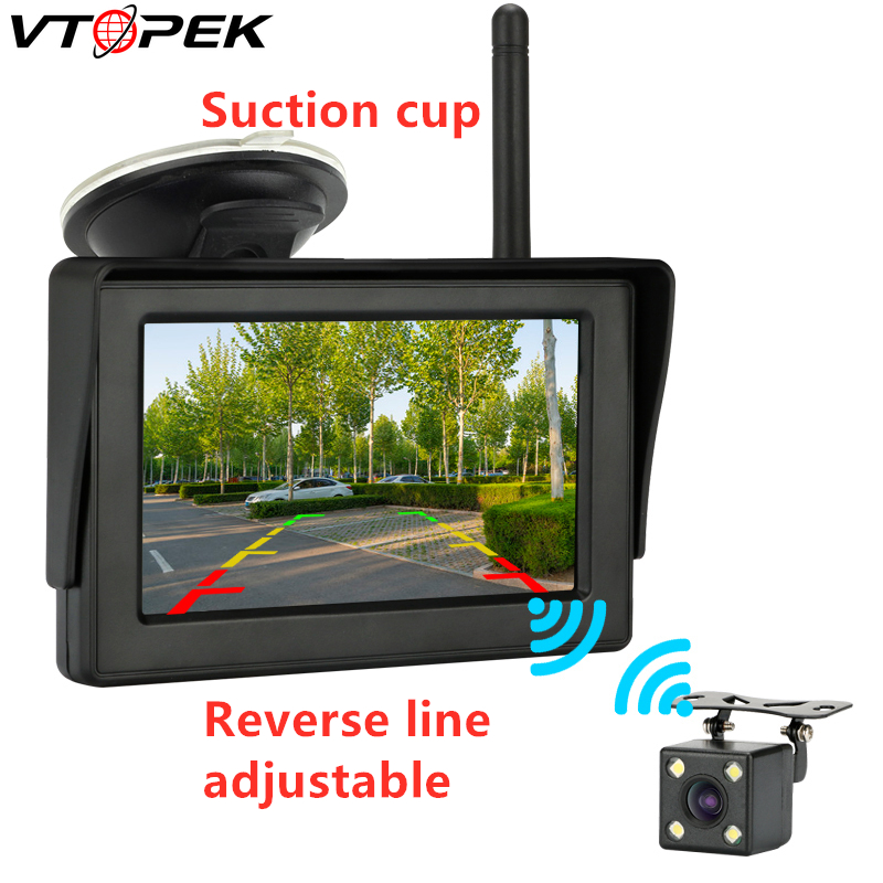 <font><b>4.3</b></font> <font><b>inch</b></font> wireless Car HD Rearview Mirror <font><b>Monitor</b></font> CCD Video Auto Parking Assistance LED Night Vision Reversing Rear View Camera image