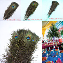 50Pcs Natural peacock feathers for crafts plume long  25-80cm DIY Party jewelry making Home vase Wedding decorative