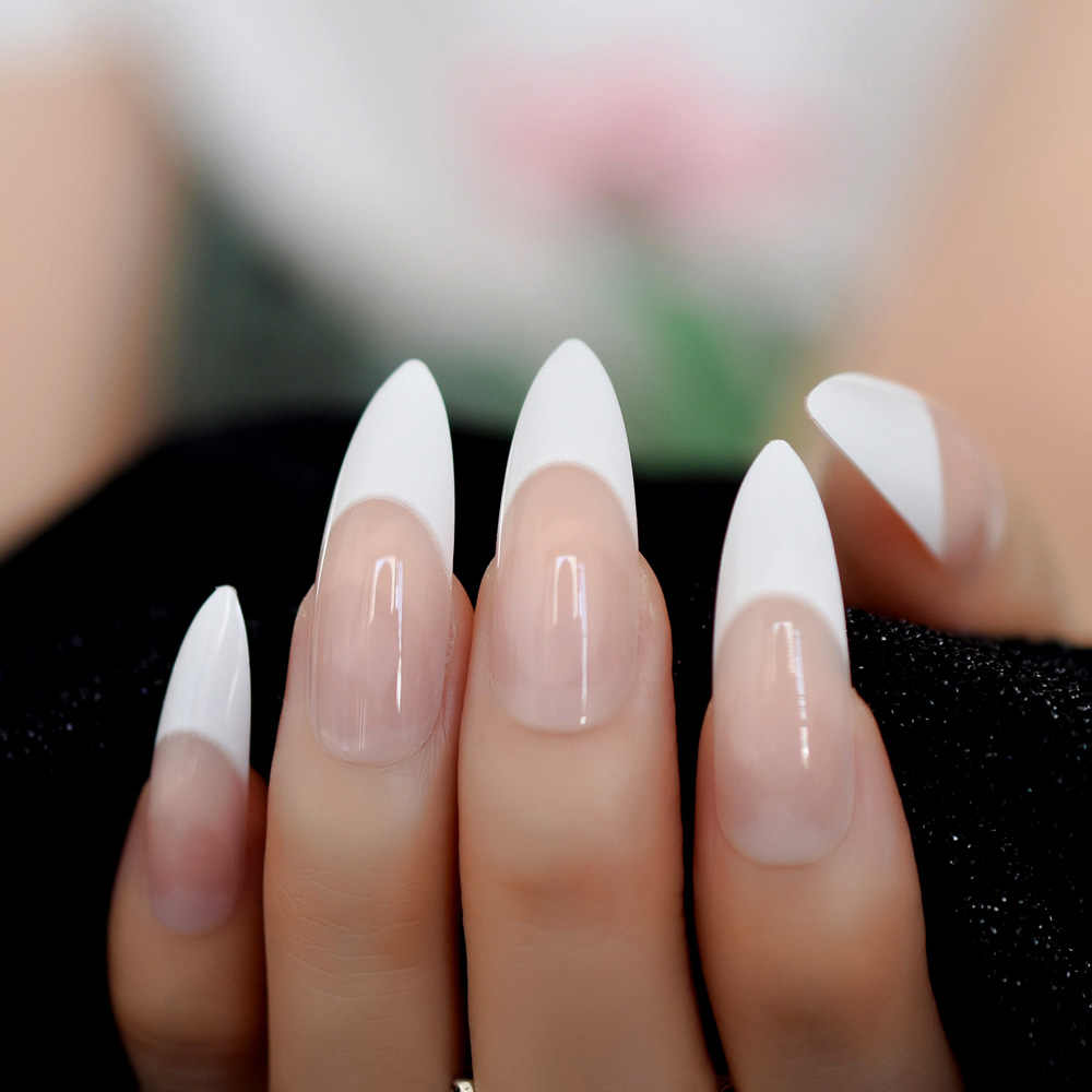 Nude French Stiletto Long Nails Flesh Full Cover Artificial Natural Tips  Artificial Fake Nails Lady Daily Wear Nail Fake 24pcs