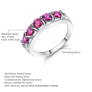 Image 5 - GEMS BALLET Solid 1.84Ct Natural Rhodolite Garnet Ring 925 Sterling Sliver Wedding Band Simple Rings For Women Fine Jewelry