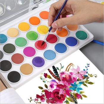 Venta al por mayor, pintura de acuarela sólida, conjunto de pintura con pincel, Color brillante, pintura de pigmento, conjunto para estudiantes, suministros de arte