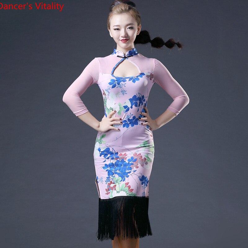 New Brand 3 Colors Women's Dance Dress Long Sleeve Latin Silk Sexy Dance Dress Tango Salsa Dress Hot Sale Hcdance