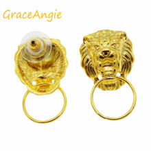 Whosesale Matte Gold Tone Alloy Lion Head Earring Stub Connector Finding Hot 14PCS 35656