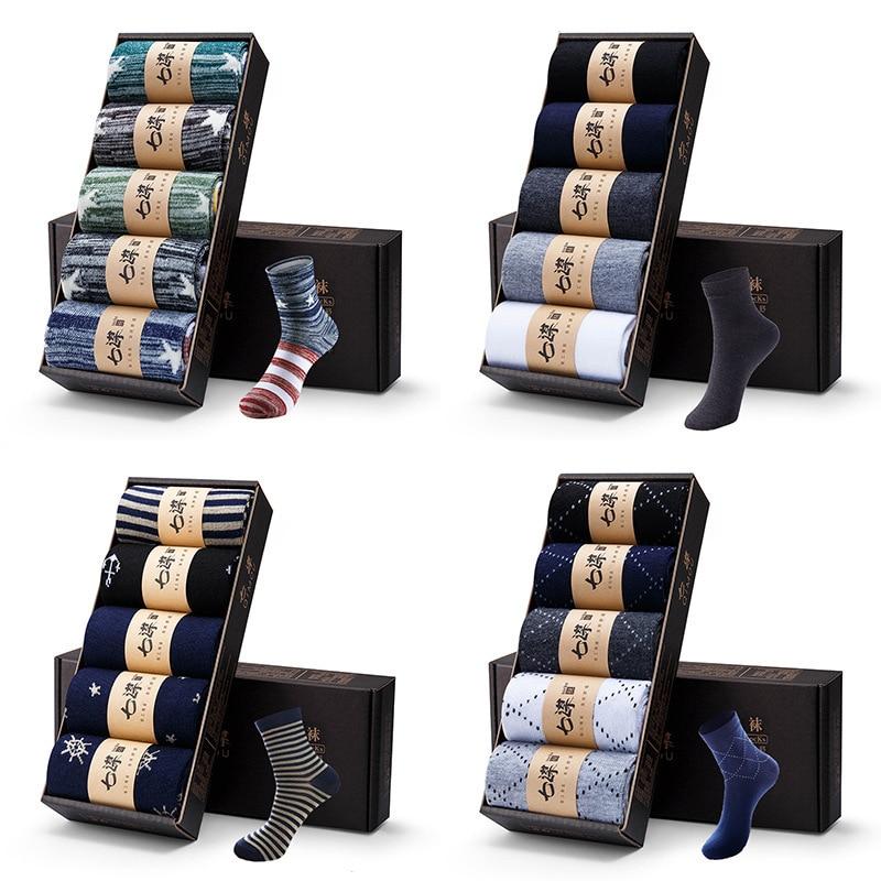 DIMUSI Männer Baumwolle Socken Marke Neue Casual Business Anti-Bakterielle Deodorant Atmungsaktiv Schweiß Mann Crew Socke 5 paare/los, TA280