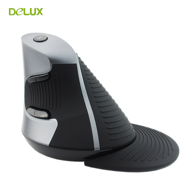 Delux M618 Wireless Ergonomic Vertical Mouse 2.4g 6 Button Mice 1600 DPI Computer USB Optical Mause for PC Laptop Office original rapoo silent wireless optical mouse mute button click mini noiseless game mice 1000 dpi for macbook pc laptop computer