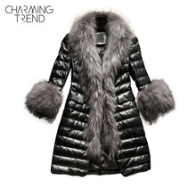 Charmingtrend Cotton Jacket Women Faux Fur Collar Quilted PU Leather Coat Winter Parkas Faux Fur Sleeve Female Black Elegant