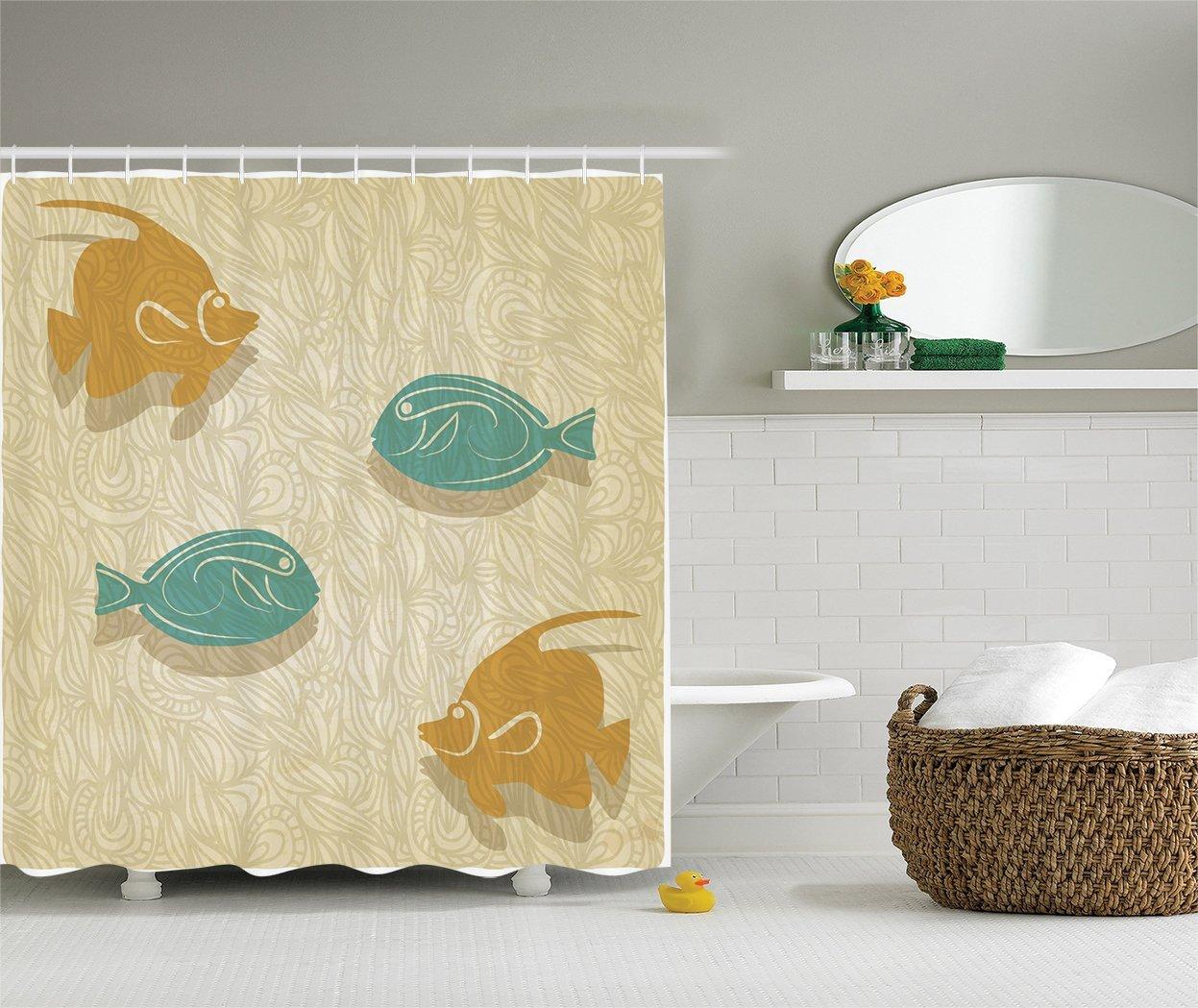 Fish And Waves Shower Curtain Set Aquarium Marine Ocean Themed Fishing Decor Bathroom Accessories