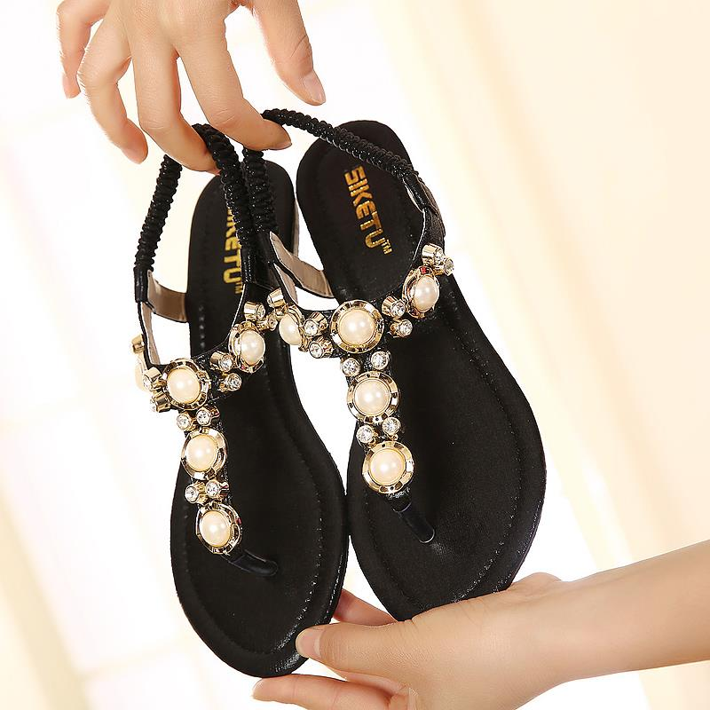 2016 Shoes woman gladiator sandals women sandal summer shoes open toe flip flops women sandals rhinestone Pearl wedges plus size plus size 34 44 summer shoes woman platform sandals women rhinestone casual open toe gladiator wedges women zapatos mujer shoes