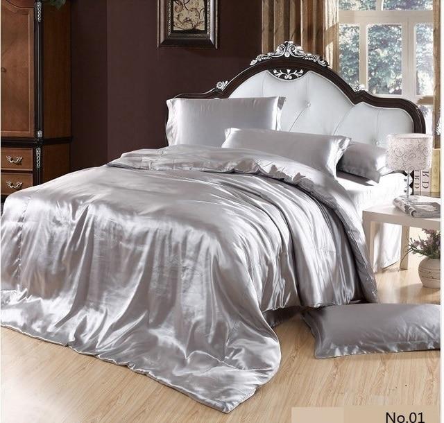 7pcs Silver Satin Silk Grey Bedding Set Super California King Queen