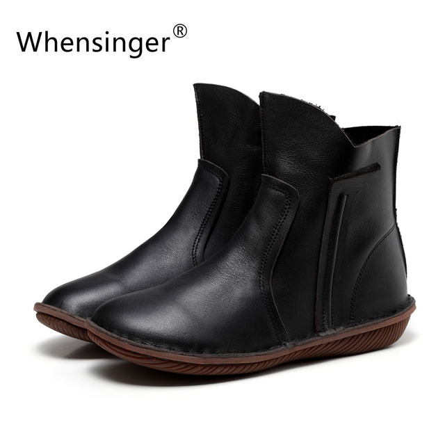 Whensinger - 2018 New Women Fashion Winter Boots Genuine Leather Shoes Short Plush Inside Hands Sewing Zip Design 5069