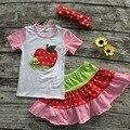 Niñas ropa de los niños de la manzana de nuevo a la escuela superior con faldas bebé niñas boutique de ropa de verano con diadema a juego