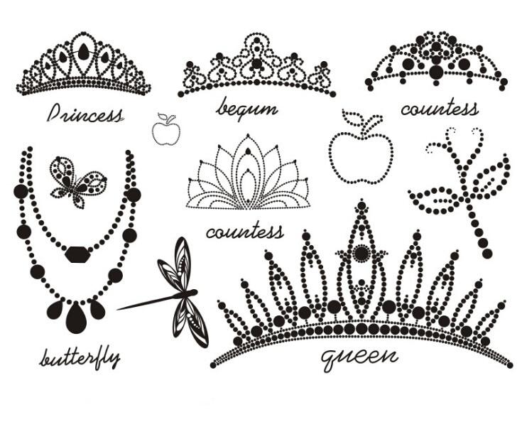 Impermeable Tatuaje Temporal Adhesivos Negro Fresco Princesa Reina