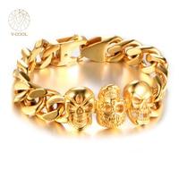 VCOOL Gothic Punk Three Skull Bracelet Stainless Steel Chain Bracelet Antique Gold Bangle Jewelry For Men & Women Gifts VB456