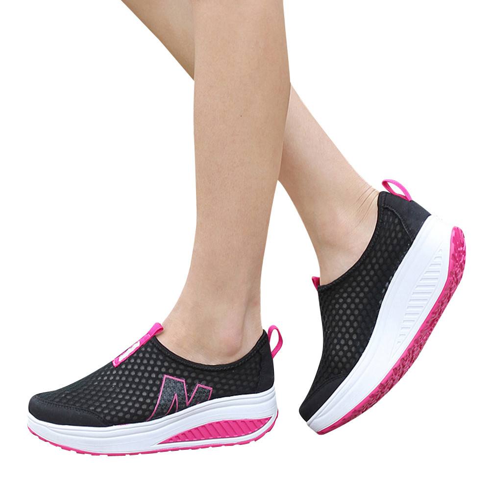 Fashion Shoes Women Mesh Flat Shoes Sneakers Platform Shoes Women Loafers Breathable Air Mesh Swing Wedges Shoe Breathable Flats(China)