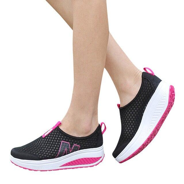 Thời trang Giày Phụ Nữ Lưới Phẳng Giày Giày Nền Tảng Giày Phụ Nữ Đôi Giày Lười Breathable Air Lưới Đu Nêm Giày Căn Hộ Thoáng Khí