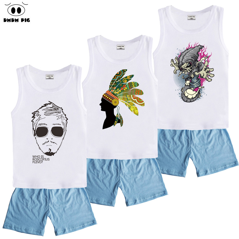 DMDM PIG Brand Girls Boys Sports Suits Summer Set Kids Clothes Fashion Baby Girl Boy Children Clothing Sets Tracksuits For Boys