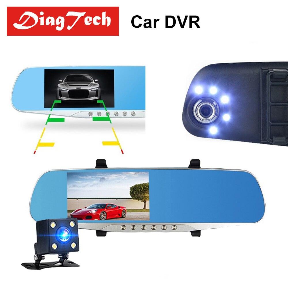 Gryan coche espejo retrovisor coche espejo vídeo con cámaras duales coche DVR 4,3 ''Full HD 1080 p Dual lente cámara de visión trasera Dashcam