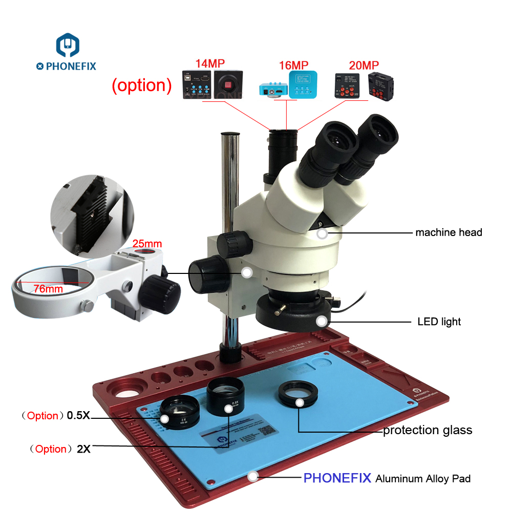 medium resolution of 3 5 90x continuous zoom simul focal trinocular stereo microscope 20mp microscope camera 144 light phone
