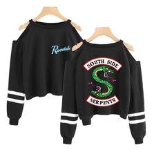 Riverdale Fashion Kpop Cropped Sweatshirt Women Off Shoulder Long Sleeve Sweatshirts 2019
