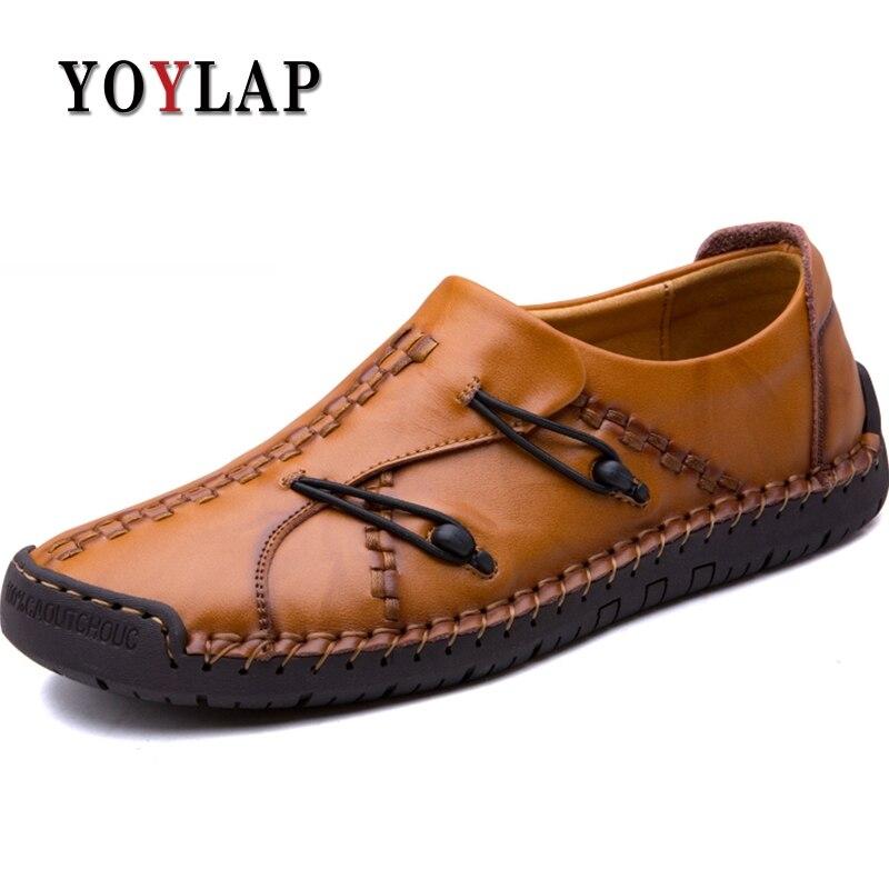 Alta Hombre Livre Mão Sapatos Genuíno Causal Roman Couro Ao New Ar Qualidade Zapatos De Preto Dos Feitos Homens amarelo marrom À Yoylap UFAa7wqn