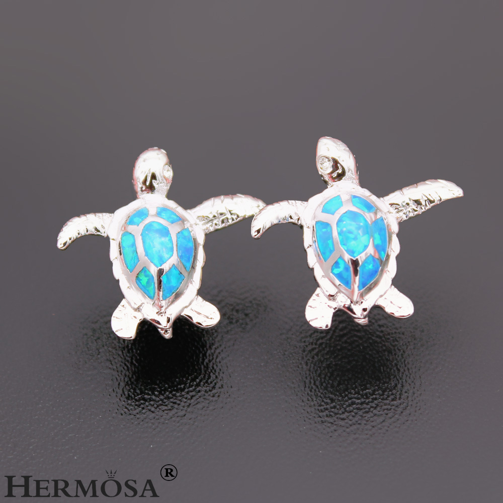 silver soe sterling hawaiian stud sea products inlay aspc earrings post turtle heavy opal