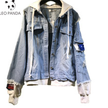 2019 Nieuwe Borduren Badges Vrouwen Hooded Denim Jas Dames Oversized Verontruste Jean Jassen Patchwork Ontwerp Losse jas(China)