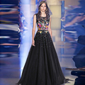 Vestido de noiva Celebrity Dresses 2016 Black Sleeveless Floor Length Lace Appliques Scoop Sashes Party Dress Prom Evening Gowns