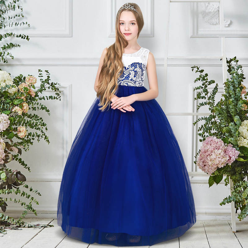 5 14 Years Summer Girls Flower Dress Baby Girl Kids Tulle Lace Tutu Dresses Children Birthday Party Teenage Girl Prom Long Gown girl party dress christmas dress for girl 2017 summer formal girl flower gir dresses junior girls prom gown dresses baby clothes