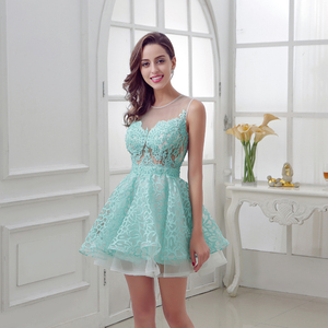 Image 3 - New Arrival Short Mint Homecoming Dresses with Lace Beading Appliques Illusion Sleeveless Graduation Party Cocktail Gowns OL313