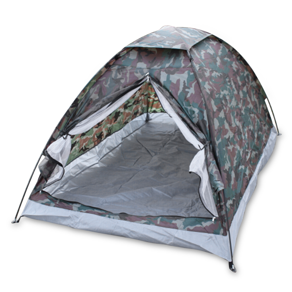 Camping Tent for 2 Person Single Layer Outdoor Ultralight PU1000mm Rainfly Hiking Portable Beach Tents Camouflage with Carry Bag