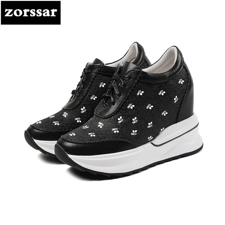 {Zorssar} Fashion sneaker boots women Wedges platform Shoes Genuine Leather Height Increasing Ankle Boots Female Casual Shoes