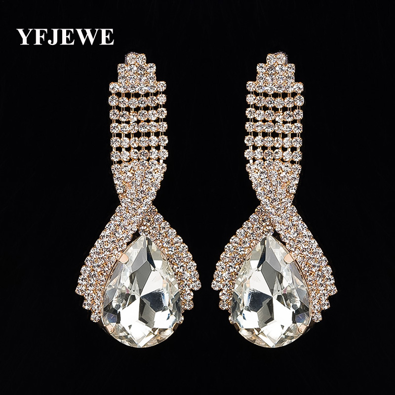 YFJEWE Fashion accessories super corp sparkling crystal big drop earrings for women long earrings wedding earrings jewelry #E001