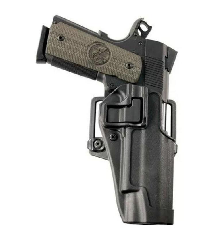 Frete Grátis Quick Draw Tactical Airsoft Coldre Militar Mão Direita Paddle com Cinto Coldre Caso Preto para Pistol Colt 1911