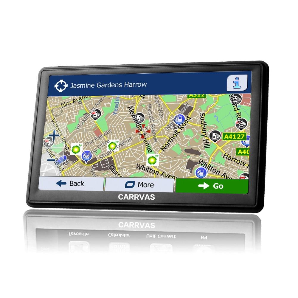 Carrvas 7 inch capacitive screen car truck gps navigation 256m 8gb bluetooth av in fm
