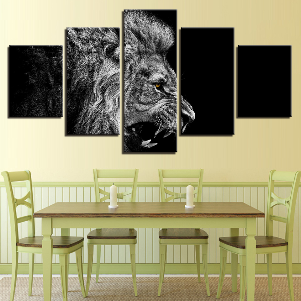 Canvas Paintings Wall Art Home Decor 5 Pieces Roaring Lion Pictures ...