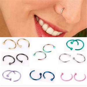 MISANANRYNE Fake Nose Ring Gold Body Septum Piercing 1pc