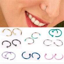MISANANRYNE Fake Septum Medical Titanium Nose Ring Silver color Body Clip Hoop For Women Septum Piercing