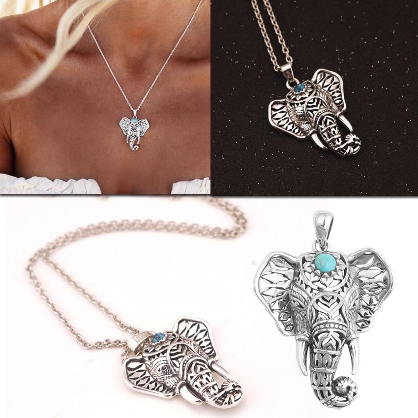 mascot elephant neklace women imitation Thai silver pendant necklace retro ethnic clavicle chain necklace collier boheme