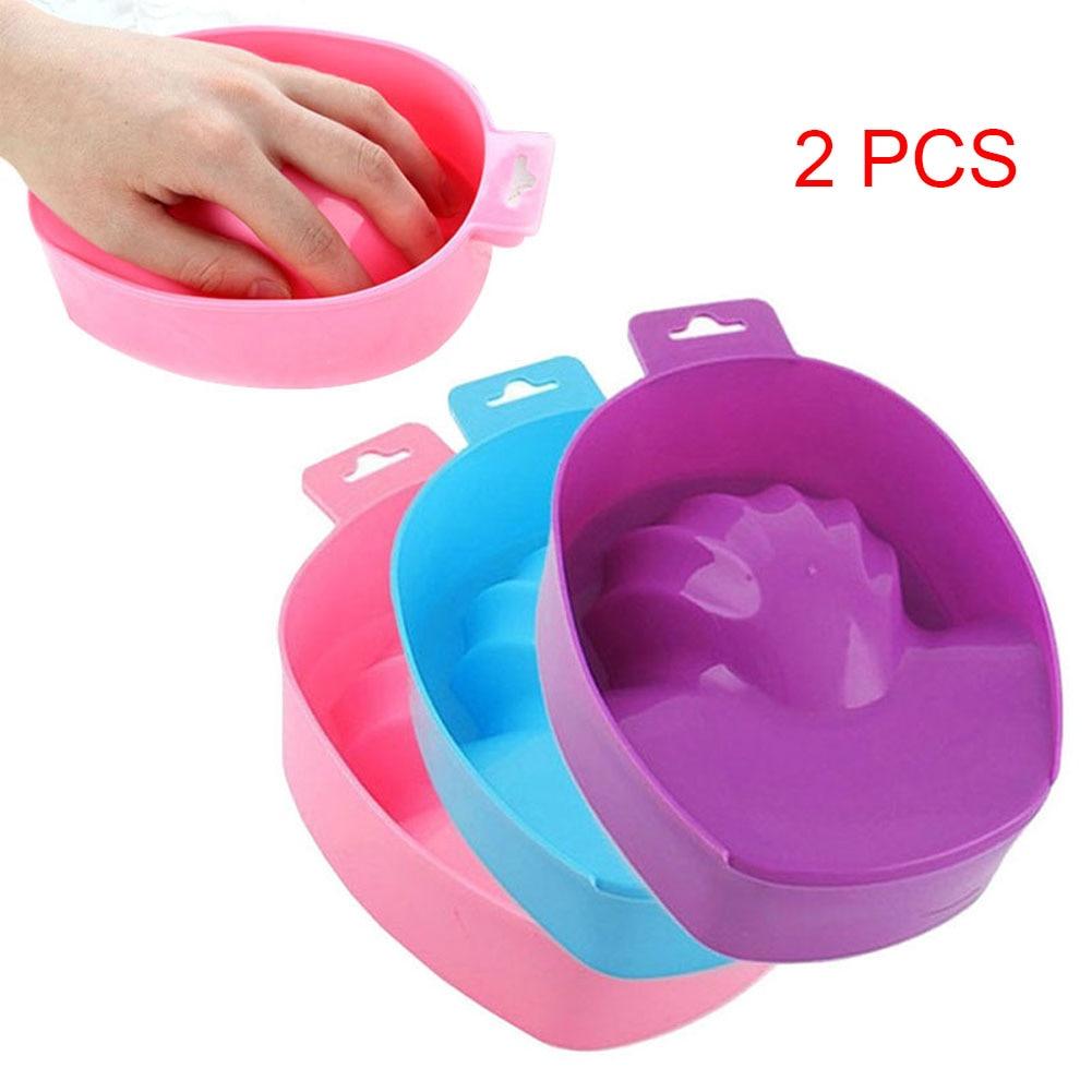 2pcs High Quality Plastic Nail Hand Wash Remover Soak Bowl Salon Manicure Polish Washing Tools Free Shipping